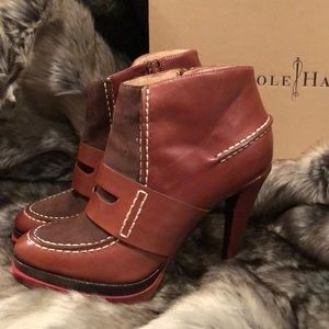 Cole Haan brown leather booties; original box